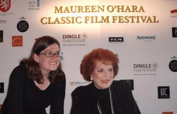 With the late Maureen O'Hara in Ireland.