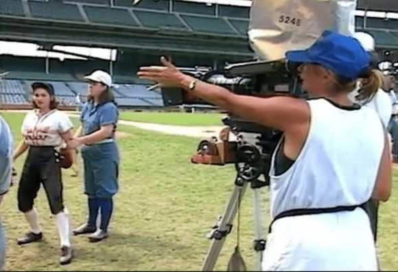 """Penny Marshall on the set of """"A League of Their Own."""""""
