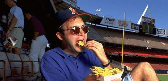 Eating nachos in the stands before a 1992 Angels game (photo by V.J.Lovero)