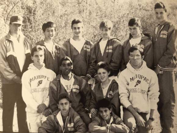 Craig (top, fourth from left) and Jeff (far right) were two components of the legendary 1989-90 Mahopac High cross country team.