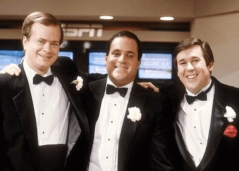 Three ESPN originals—Tom Mees, Chris Berman and Bob Ley (from left to right)