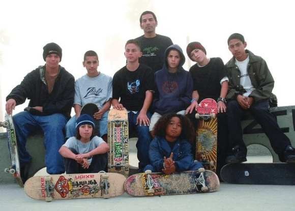 Jesse with some of Venice's skate kids (photo by Dan Levy)