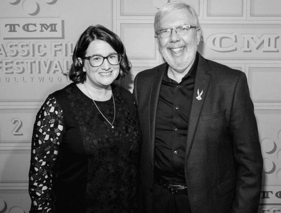 With Leonard Maltin after Lara introduced Show People with him at the TCM Classic Film Festival