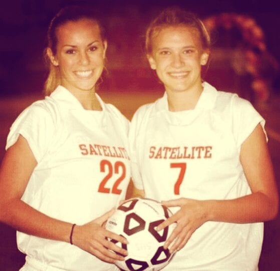 McHenry, left, during her college soccer days.