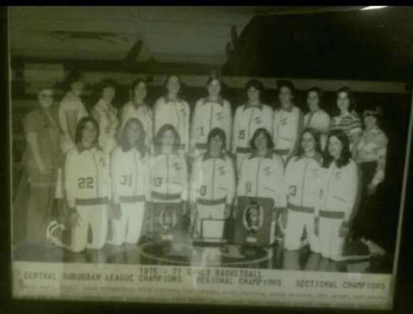 Melissa, front and center, during her hoops glory days.